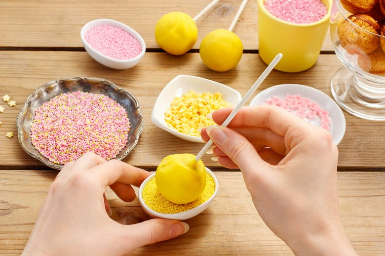 Cake pops can be decorated however you like.  The motto here is - the more colorful, the better.