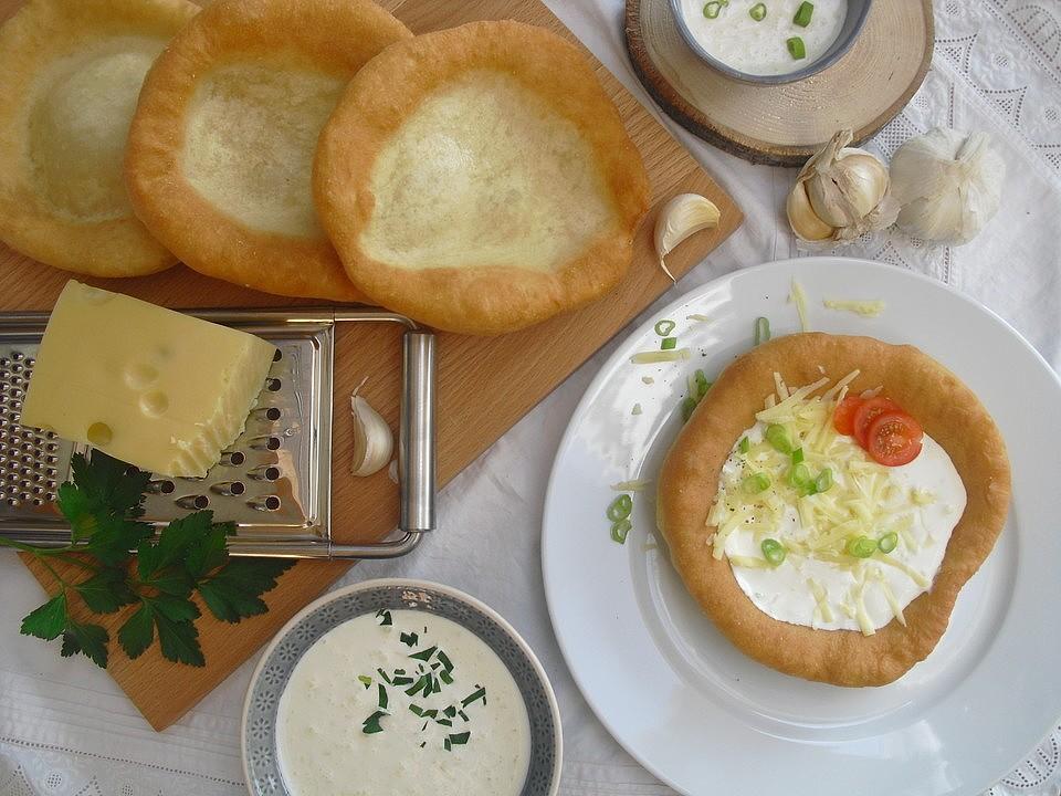 Photo of Hungarian Langos with Garlic Cream and Cheese